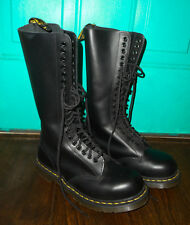 NEW DR MARTENS Leather COMBAT Boots 1942 20 Eye Hole Doc BLACK M 7 / L 8 / UK 6