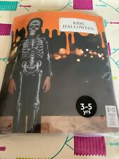 Kids Dressing Up Costume Skeleton Halloween 3-5 Yrs