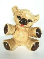 """Vintage 1970's Ceramic Hand Painted """"Ugliest"""" Teddy Bear Coin Piggy Bank 7.5"""""""