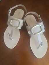 """Seed"" Size 41 Beige All Leather Buckle Trim Sandals, Brand New Cost$100"