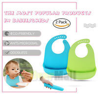 2PCS Waterproof Baby Silicone Bibs Feeding bib Kids Roll up Food Catcher Pocket