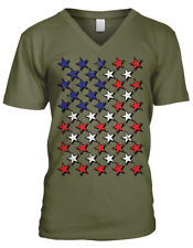 Red White And Blue Stars Flag USA America Patriotic Murica Mens V-neck T-shirt
