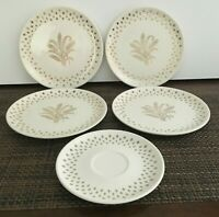 5 VINTAGE GOLDEN WHEAT & FLEUR-DE-LIS DESIGN PLATES. 4 dessert and 1 saucer.[A-2