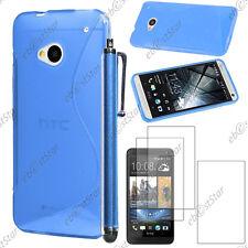 Housse Etui Coque Silicone S-line Gel Bleu HTC One M7 + Stylet + 3 Film écran