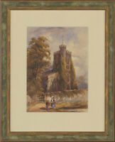 Original Late 19th Century Watercolour - Sunday Church Scene