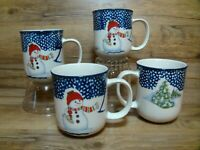 4 - THOMSON POTTERY - CHRISTMAS / WINTER - SNOWMAN - 10 OZ. COFFEE / COCO MUGS