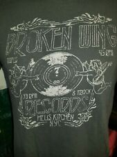 Broken Wing Records Tapes 45 RPM Hells Kitchen gray medium t-shirt, Lucky Brand