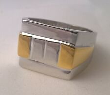 G-Filled Men's 18kt white and yellow gold two tone ring Gents USA size 10 Aus U