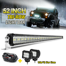 Tri Row 52INCH LED Offroad Light Bar 4x4 ATV + 4inch Pods Cube18W light +Wire