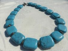 """AMAZING TURQUOISE Beaded Sterling silver Clasp NECKLACE 18"""" inches Gorgeous on"""