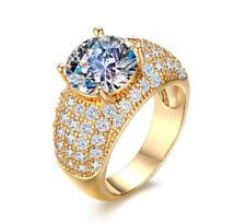 Women Gold Plating Cubic Zirconia Ring Wedding Anniversary Band Size M-Q