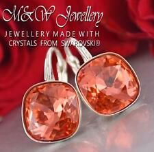 925 Silver Earrings Fancy Stone 10mm Padparadscha Crystals From Swarovski®