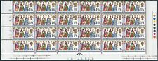 1969 Christmas 1/6 Cylinder Block Bottom 3 Rows Strip - MNH