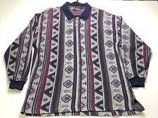 Forum Sweater Shirt Mens XL Multicolor Long Sleeve Collar Button Geometric Aztec