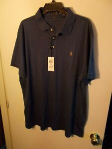 NWT Mens XXL Polo Ralph Lauren Custom Slim Fit Blue Heather Shirt New $85