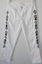 SUSAN GRAE Jeans Sz 8 smal White Black Cotton Printed 7/8 capri skinny