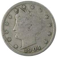 1904 Liberty Head V Nickel 5 Cent Piece AG About Good 5c US Coin Collectible