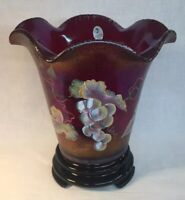 Fenton Hand Painted Wine Country On Ruby Amberina Stretch Carnival Vase On Base