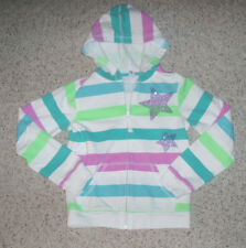 Girls OLD NAVY Striped Sweathirt Hoodie Sequin Star~Green/Teal/White~Size M 8