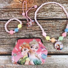 5pcs Elsa Gift Jewelry Set Earring Frozen Toy Necklace Kid Princess Bracelet