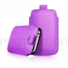 QUALITY LEATHER PULL TAB CASE COVER HOLSTER FOR VARIOUS PHONES