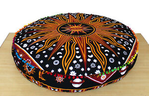 """Indian 35"""" Large Round Floor Cotton Cushion Pillow Cover Pouf Meditation Cover"""