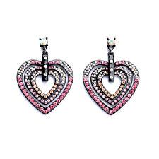 Pendiente`Orejas Clavo Plateado Negro Corazón Rosa Art Deco Vintage AA 8