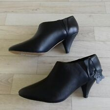 M&S 7 Shoe Ankle Boots Black Leather Wide Fit EUR 40.5 BNWT