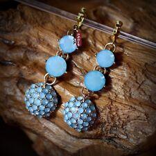 Boucles d`Oreilles Clips Rond Bleu Mini Perle Retro Original Mariage Cadeau E4