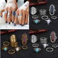 8pcs Vintage Above The Knuckle Ring Midi Rings Set Boho Turquoise Jewelry