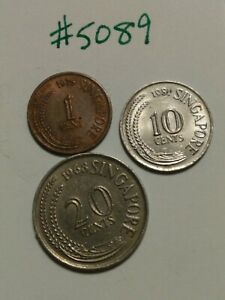 🇸🇬 3 Singapore Coins 1975 1-, 1981 10-, & 1969 20- Cents Coins - Older Style