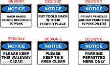 Notice Australian Health & Safety Signs OHS Standard Signs Work Place Signs