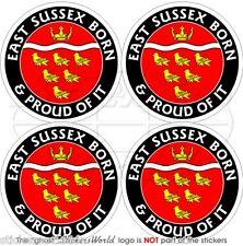 """East Sussex Nacido & orgulloso del Reino Unido Inglaterra De 50 Mm (2 """") bumper-helmet etiquetas engomadas, calcomanías X4"""
