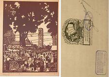 1930 ca TORINO MERCATO DI CORSO REGINA ACQUALAGNA Xilografia M. Alessandri