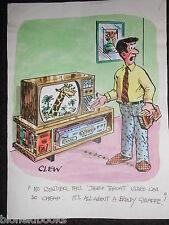"""Clifford C Lewis """"Clew"""" Original Pluma Y Tinta De Dibujos Animados-Angry cinta de vídeo hombre #195"""