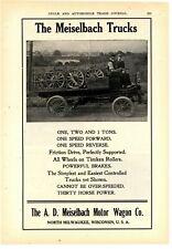 1908 Meiselbach Trucks Ad: A.D. Meiselbach Motor Wagon Co. North Milwaukee, WI