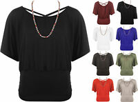 New Womens Batwing Necklace Scoop Neck Cross Over Ladies Stretch Ruched Top 8-16