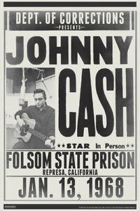 Johnny Cash Folsom State Prison Concert 1968 Vintage Country Music Poster 12x18