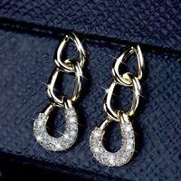 18k gold stud made with Swarovski crystal dangle rings drop earrings 925 silver
