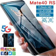 Android smartphone Mate 40RS 12GB+512GB 7.3  HD Screen Dual sim MTK 6799 BLUE