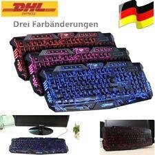 LED 3 Farben Keyboard Gamer PC Gaming Tastatur USB Kabel Media Beleuchtung DHL