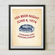 Framed Vintage 10 Cent Beer Night Baseball Cleveland Indians Flyer Gift