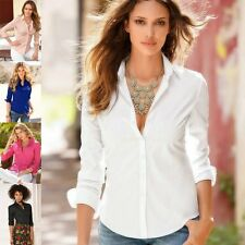 Womens Button front Cotton  Shirts Long Sleeve Casual Tee T-Shirt Tops Blouse