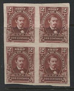 Honduras 1907 2 centavos IMPERF block of 4 unused no gum