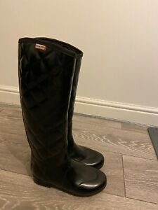 Black Quilted Hunter Wellies Size 3 UK in black