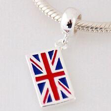 UNION JACK-UK Flag-British-Solid 925 sterling silver European charm bead/pendant
