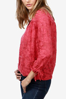 Lucky Brand Jacquard Tie-Sleeve Top Long Sleeves Women's Blouse Size Large