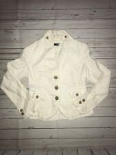 J Crew Blazer Coat Jacket Linen Distressed Cotton Raw Edge Tan Women's Size PXS