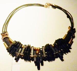 Handmade Black Porcelain & Black Leather 3 Strands- BIB Necklace-Greece-VTG