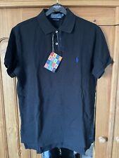 Polo Ralph Lauren Custom Fit Black Mens Polo Shirt Size Medium Mesh Limited